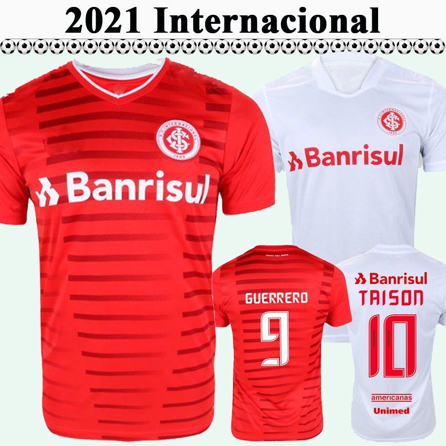 21 22 Internacional Hommes Soccer Jerseys Guerrero Taison Home Rouge Élevé Chemise de football blanc R. Dourado C. Cuesta Praxedes Uniformes à manches courtes