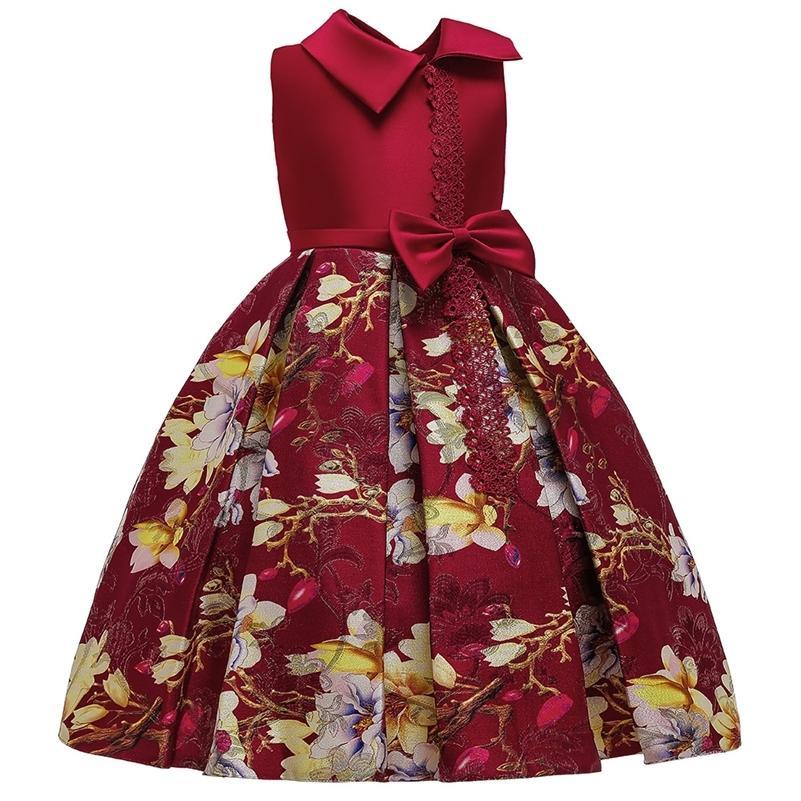 Yoliyolei crianças impressas meninas princesa vestido com vestido de bola de arco meninas performance festa vestido para crianças roupas 210319