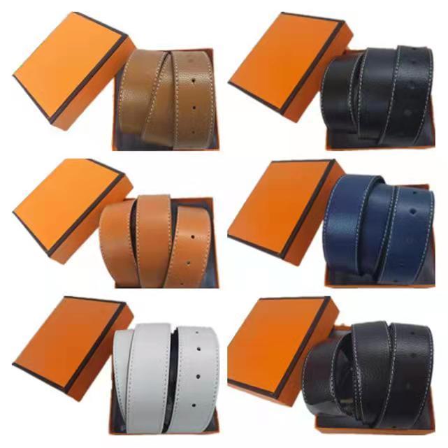 Vente en gros Betls 2021 Mens femmes de concepteur de femmes Véritable cuir de vachette en cuir noir + boucle en argent taille 105-125cm avec boîte orange