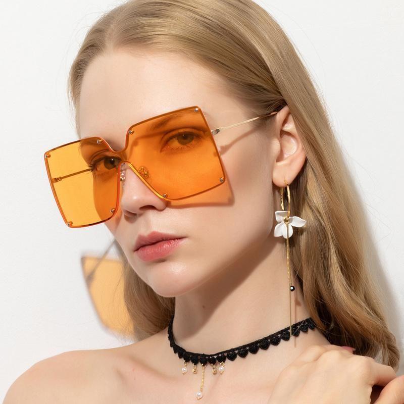 Occhiali da sole Prodotti Prodotto Candy Color Personalità selvatica Big Box Riso Nail Uomini Donne Jane Fashion Street Pografia Viaggi Beach