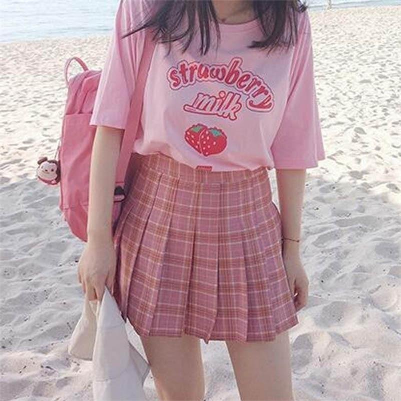 Hahayule Rose Girl Series Strawberry Lait Graphique Été Mode Été 100% Coton Casual Tops Corean Style Girl drôles manches courtes 210317