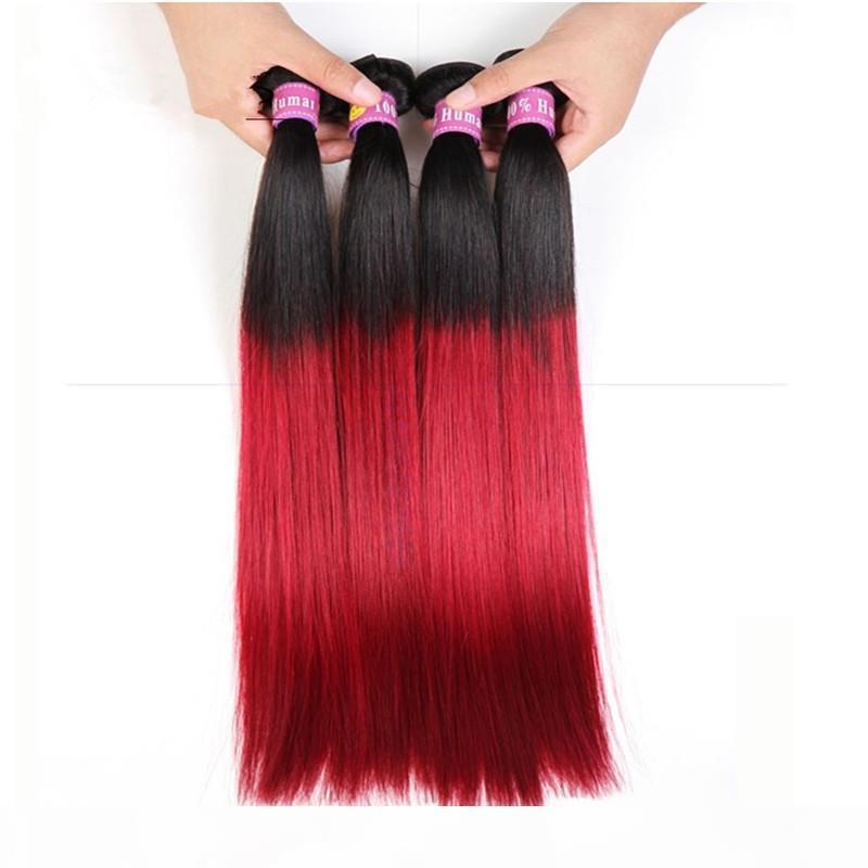 Heißer Verkauf Virgin brasilianisch rot ombre menschliche haare # 1b rotes zweifarbige Haare webt seidig gerade brasilianische 4 Bundles ombre haare extesnions