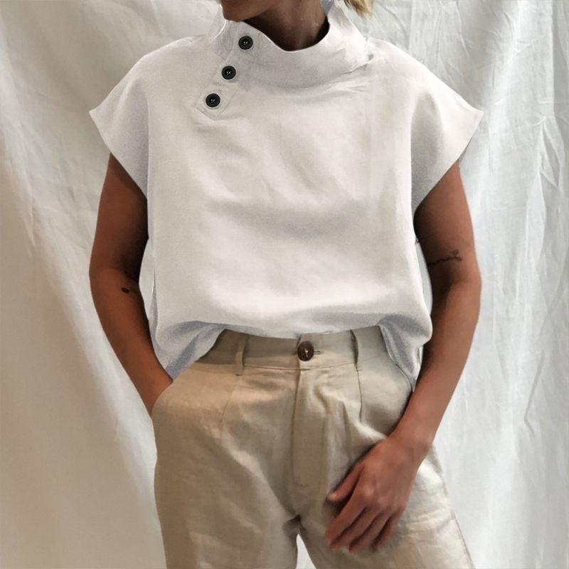 Jogoo Janee Mulheres Sólida Stand Neck Button Camisa de Algodão Verão Verão Manga Curta Blusa Casual Tops Túnica Plus Size 5XL 210320