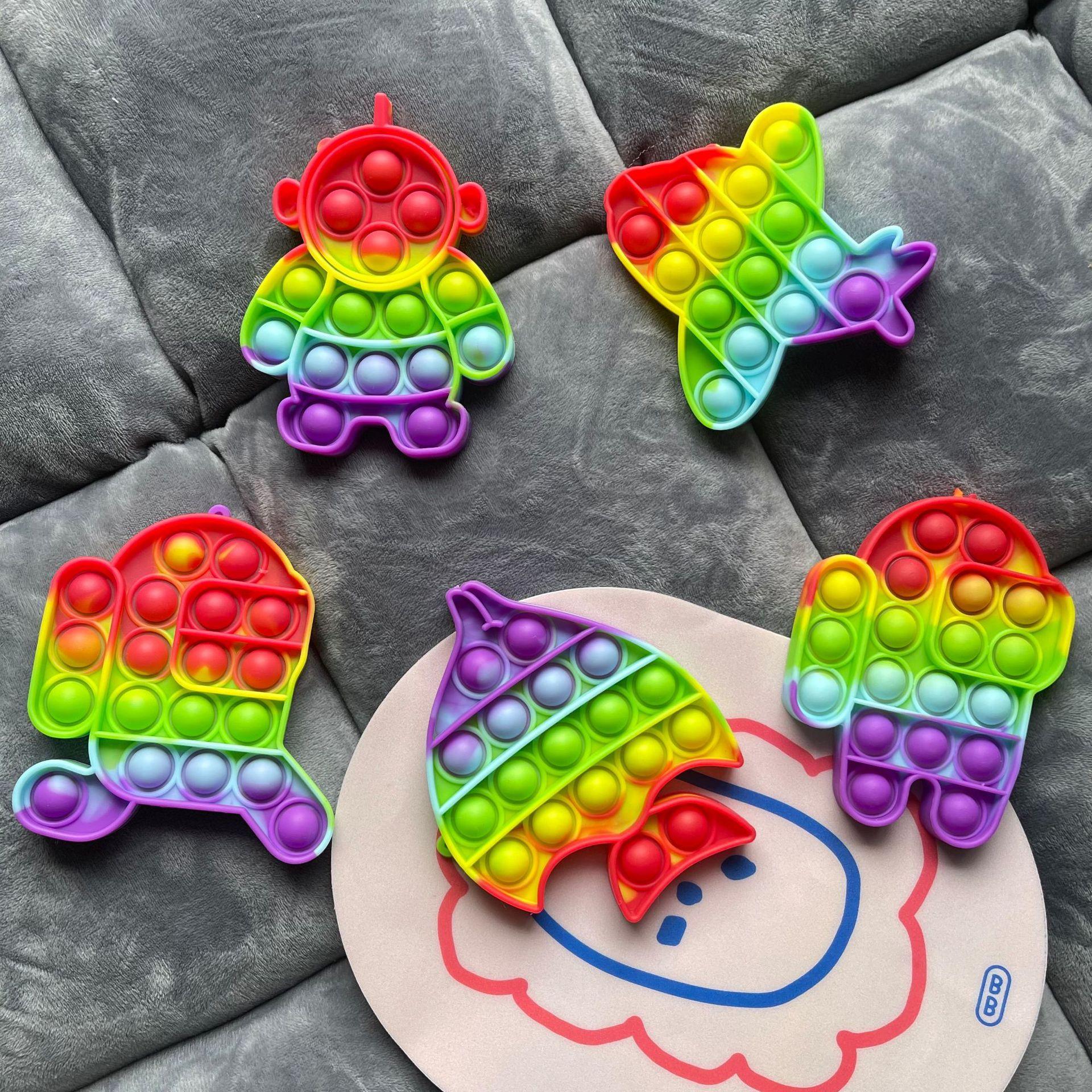 DHLColorful Bubble Fidget Sensory Pop Jouet Autisme Besoins spéciaux Stress Stress Relever Jouets Adulte Kids Antistateurs drôles avec sacs Opps en gros