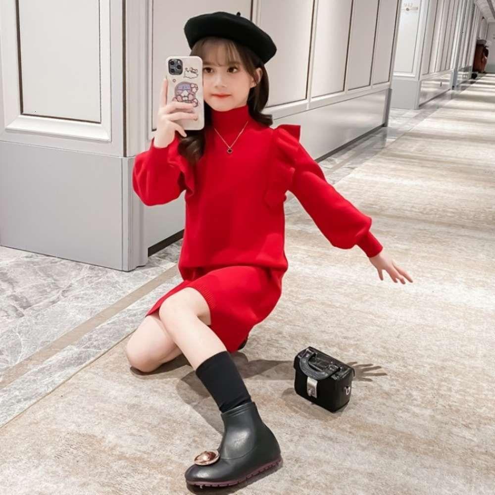 Kids Watcheshalf Tambeneck Sweater Girls 'Automne et hiver Hears Drys Children Sle Baby Fille Jupe fille