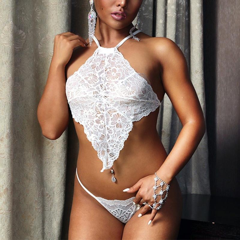 Mulheres Branco Plus Size Lace Lingerie Sexy Femme Halter Underwear Exotic Set Floral Bralette Bra Thongs Intimo Donna Bras Conjuntos
