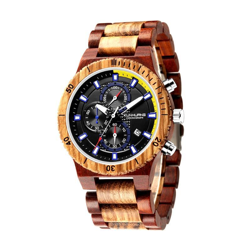 Armbanduhren Holz Herrenuhren Brand Watch Erkek Kol Saati Luxus Stilvolle Zebrawood Timepieces Chronograph Militär Quarz Relogios