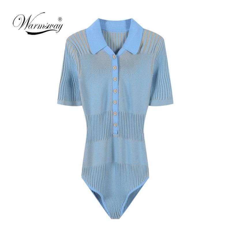 90's Vintage Vintage Contraste Contraste Couleur Open revers manches courtes Body Body Femmes Jumpsuit Slim Fit Rompes PlaySuits C-123 210317