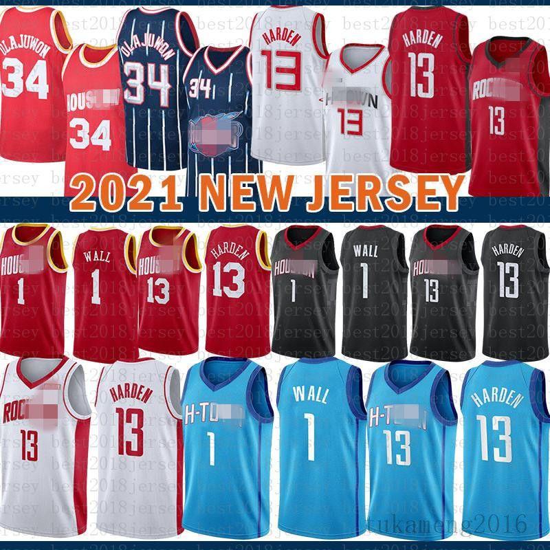 2021 novo jersey de basquete HoustonFoguete mens john 1 parede james 13 endurecer hakeem 34 olajuwon malha retro roxo