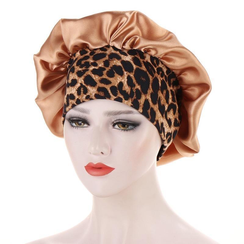Bonnet / Crâne Casquettes Satin Bonnets Cheveux Femmes Floral Elastic Bande Élastique Soux Silky Headwrap Mesdames Couverture Nuit Casquette de couchage 2021
