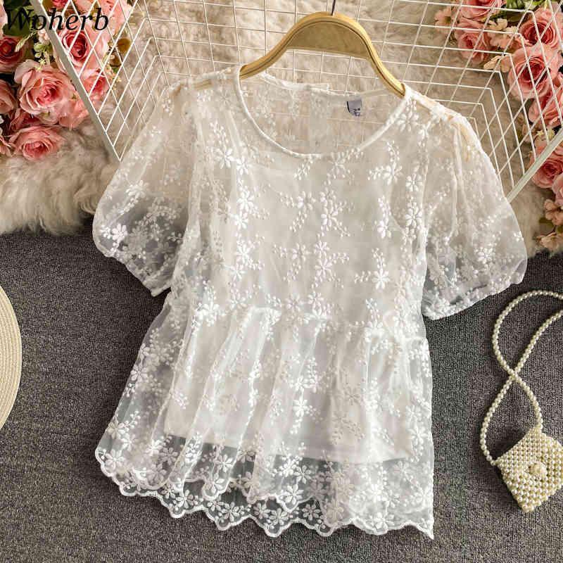 Blusas Mujer De Moda Yaz Kore Bluzlar Zarif Puf Kollu Tığ Hollow Dantel Gömlek Ince İki Parçalı Setleri Kadınlar 210422
