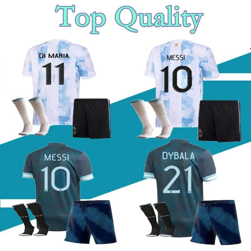 2021 아르헨티나 축구 유니폼 홈 마리아 Aguero Higuain 20 21 Messi Dybala Boys 성인 어린이 키트 축구 셔츠