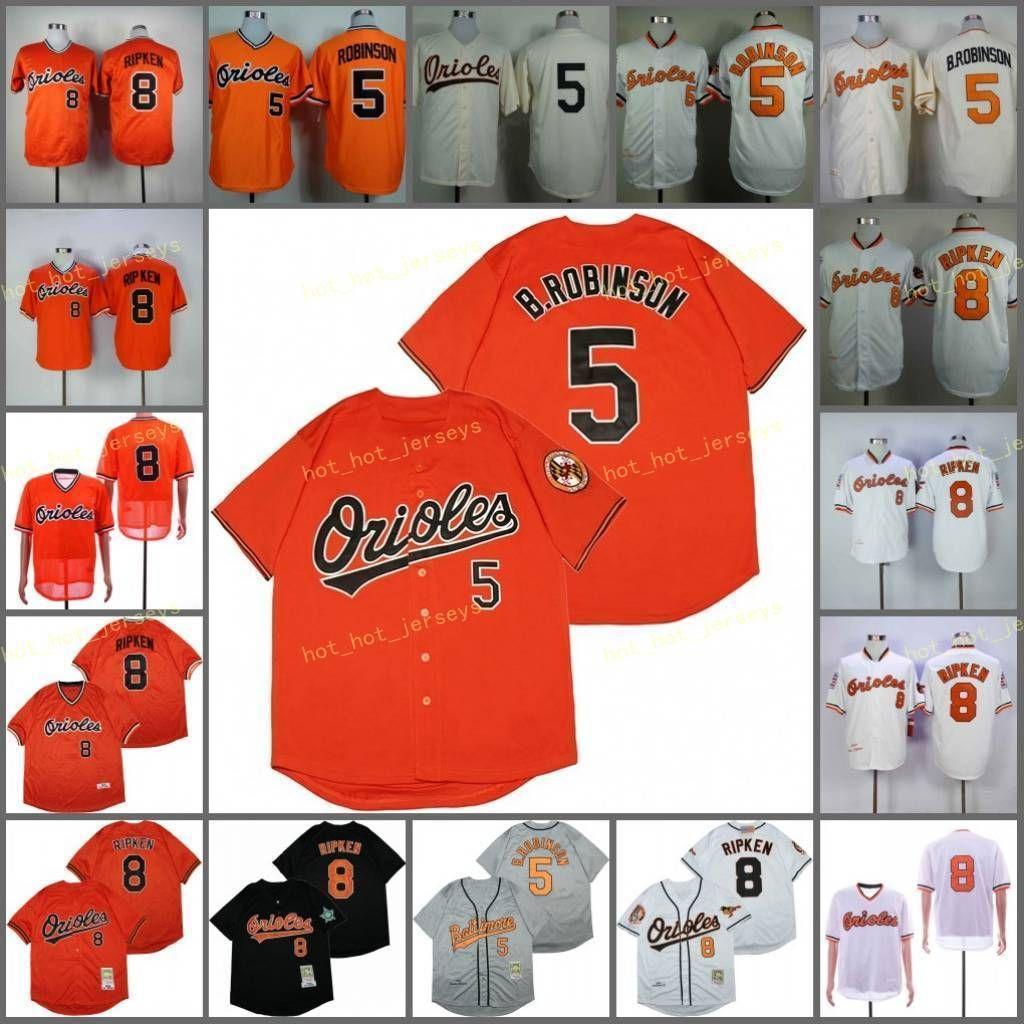 은퇴 한 5 Brooks Robinson Baseball Jersey 1966 1970 1975 1989 1983 2001 빈티지 8 Cal Ripken 레트로 쿠퍼스 타운 메쉬 스티치 풀오버