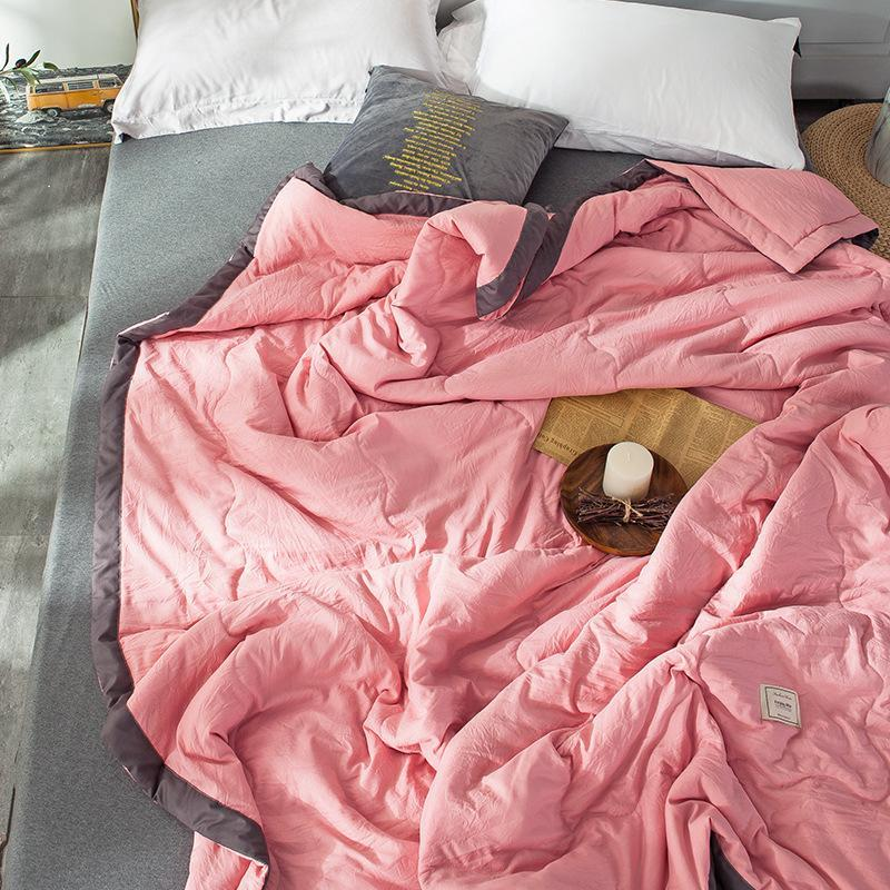 Sommer 5 Farben Klimaanlage Quilts Bettwäsche Bettwäsche WASHED Baumwolle Quilt Wurf Decken Solid Für Bettwäsche Schlafzimmer Sofa Farbhülle