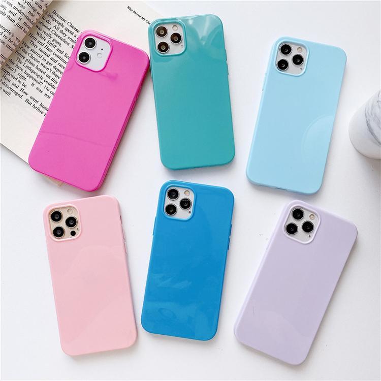 Для iPhone Case 12 11 Pro Max X XS Candy Color Молодая защитная оболочка Ультра тонкий падение корпуса Полный охват мягкий телефон
