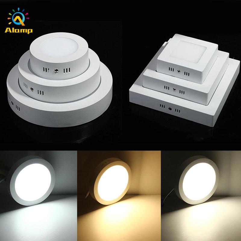 LED-Panel-Licht 6W 12W 18W 24W Runder quadratischer Oberfläche montiertes dimmbares Downlight für Home-Schule-Badezimmer Innenbeleuchtung 85-265V