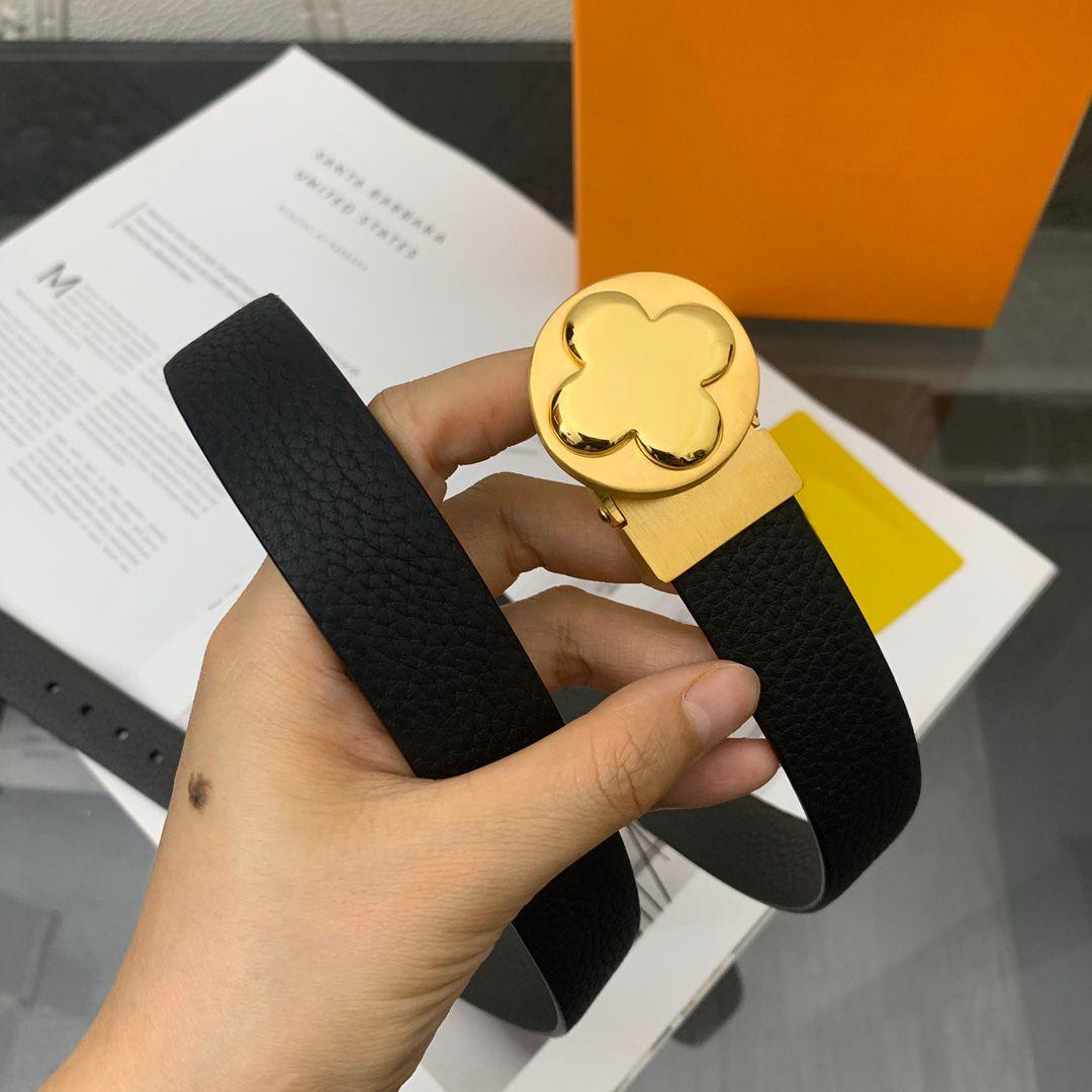 السيدات حزام جلد أسود عرض 25 ملليمتر مصمم الأزياء الذهبي السلس مشبك البرتقال الإطار الغبار هدية حقيبة # LZ95-110CM
