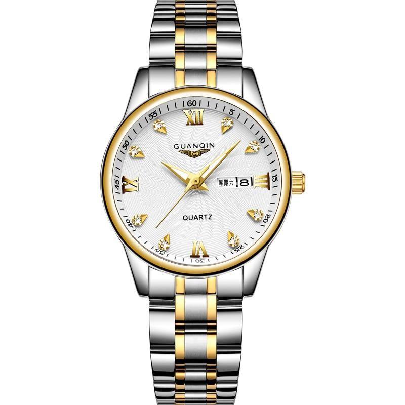Saatı Guanqin GS19127 Moda Çift İzle Paslanmaz Çelik Erkek Kadın Severler Lüks Kuvars Saat Bayanlar Bilek