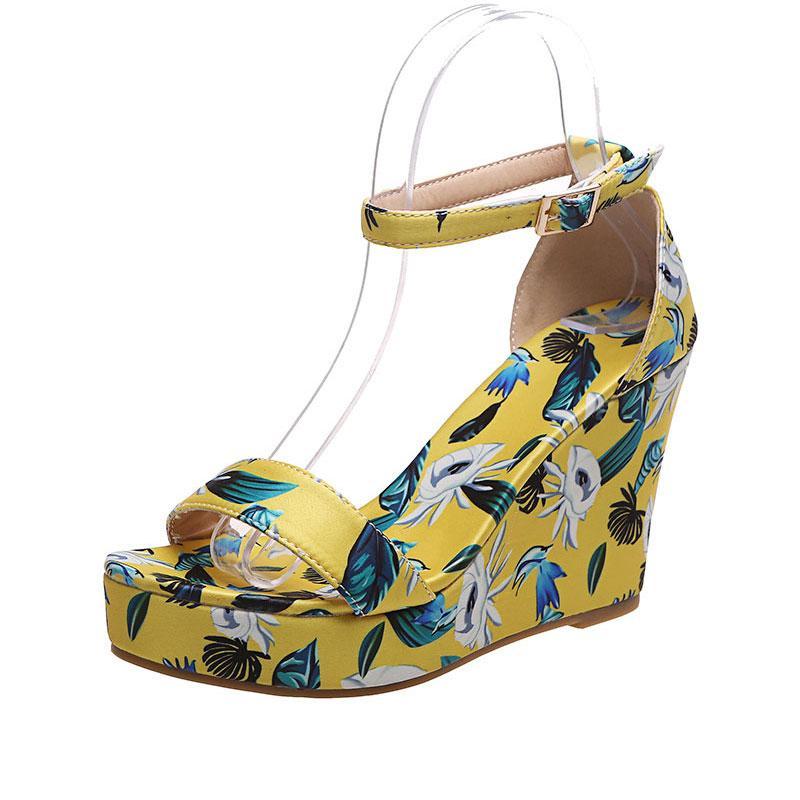 النساء أحذية عالية الكعب الصيف أسافين منصة زهرة الصنادل السيدات مفتوحة أصابع مجمع كعب مشبك صندل 2021 الأزياء الإناث عارضة حذاء JT-M223