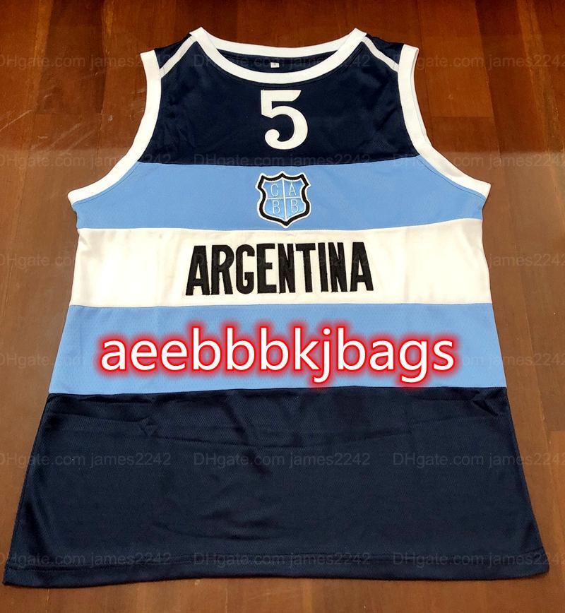 Retro Manu Ginobili # 5 Basket Blay Jersey Team Argentina Classic Mens Cucita Blu Navy Blue Numero personalizzato