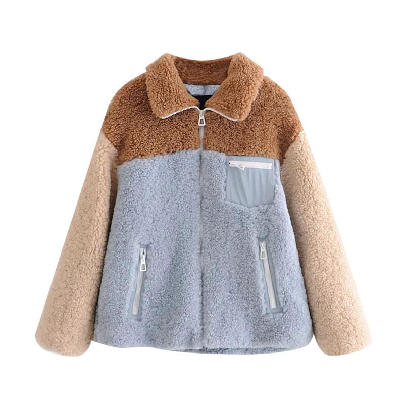 PUWD Casual Woman Loose Thick Lambswool Patchwork Jackets Autumn Winter Girls Sweet Warm Oversized Outerwear Ladies Fashion Coat 210524