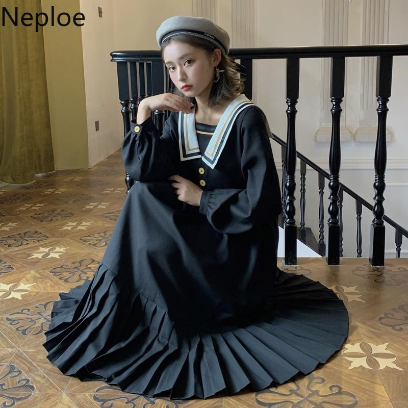 Kadınlar için Mizaç Elbiseler Vintage Gevşek Siyah Vestidos Kore Moda Denizci Yaka Pileli Robe Elbise Kadın 94702 210422