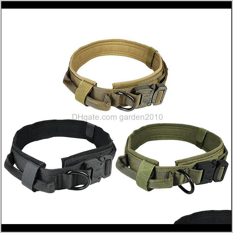 Collars Leashes Pet Supplies Home & Gardenadjustable Nylon Tactical Dog Collar Metal Buckle With Control Handle Vest For Training Drop Deliv