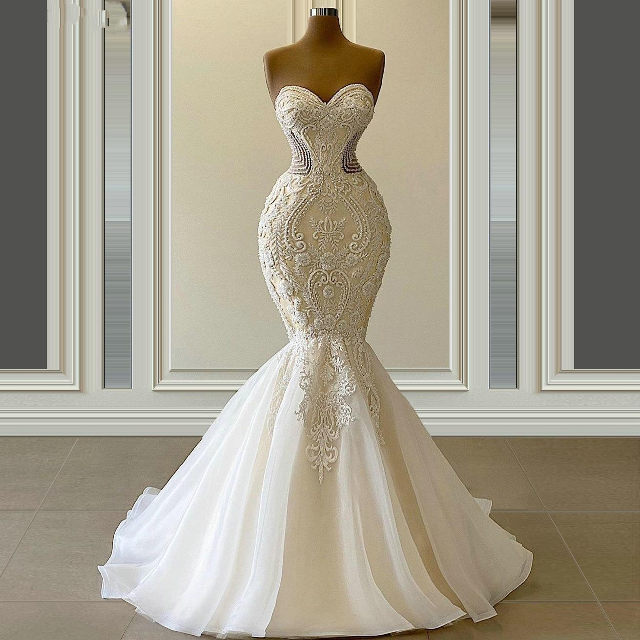 2021 Vestido De Novia Mermaid Wedding Dresses Formal Bridal Gowns Sweetheart Embroidery Lace Appliques Crystal Beads Luxury Illusion Sweep Train Plus Size