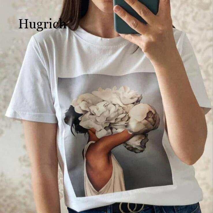 Algodão Harajuku Aesthetics Tshirt Sexy Flores Pena Impressão de Manga Curta Tops Tees Moda Casal Casal T Camiseta Femininas