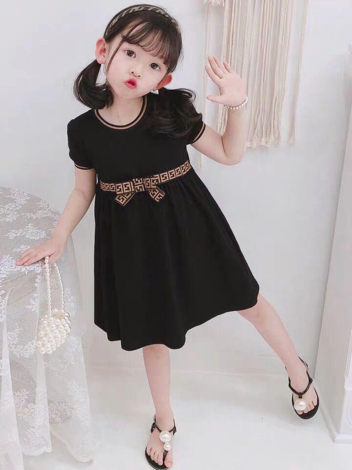 Lüks Bebek Kız Elbise Çocuk Mektup F Ilmek Yaz Kısa Kollu Çocuk Rahat Tasarımcı Giyim