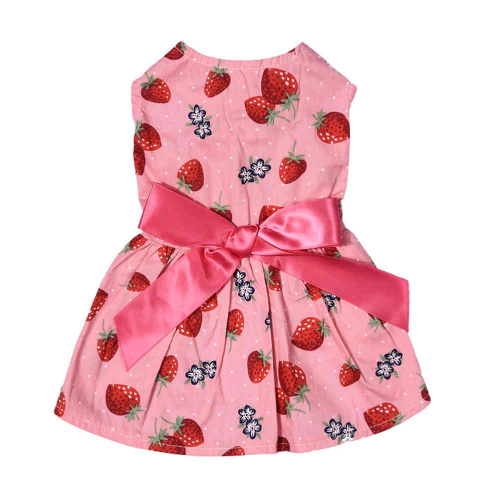 Nueva llegada Patrones de fresa Puppy Dog Vestido Princesa PET princesa linda ropa para fiesta y ocio1pcs Envío