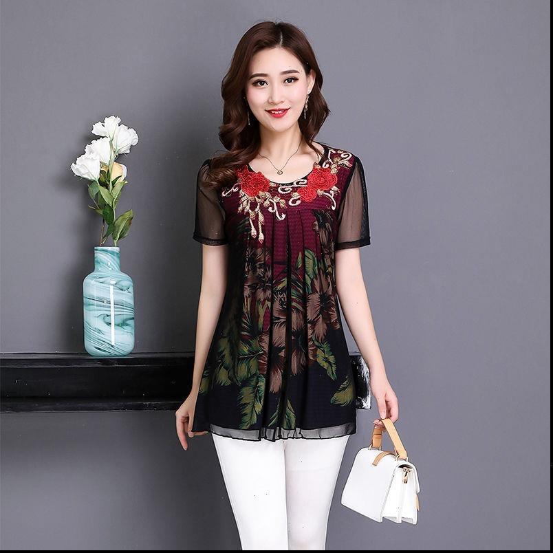 Femmes Blouses Été Moyenne arée fleur imprimée décontractée Chemisier en mousseline de mousseline de soie Mode manches courtes plus taille 4xl chemise W29