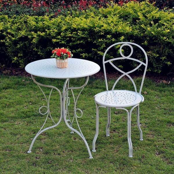 Beliebter antiker weißer Metalltischstuhl Faltenbillige Möbel-Set