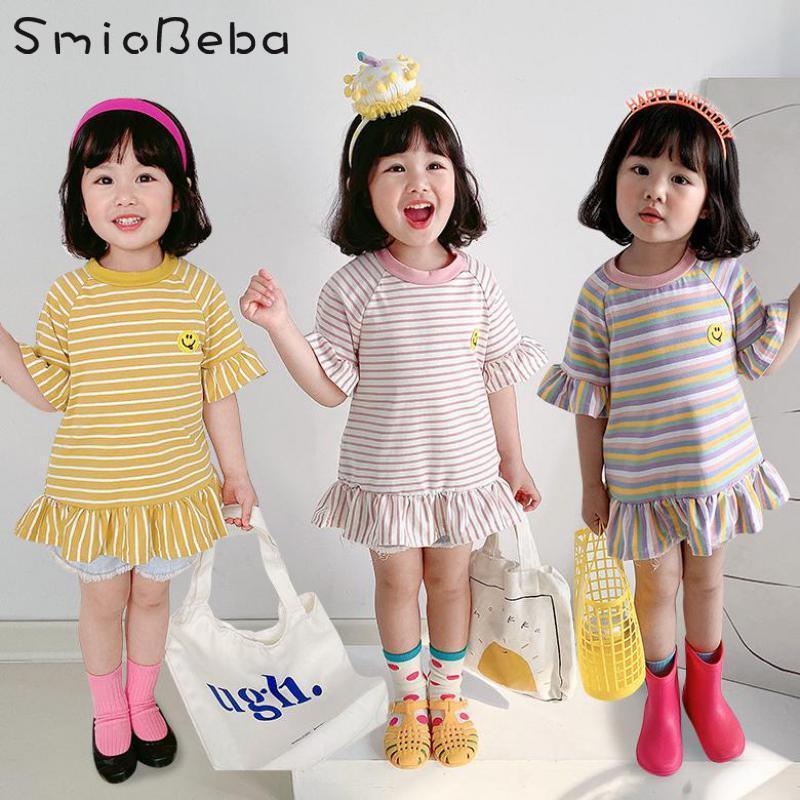 여름 로터스 슬리브 소녀 드레스 한국어 짧은 줄무늬 치마 아동 1 일 생일 베이비 Vestido infantil 소녀의 드레스