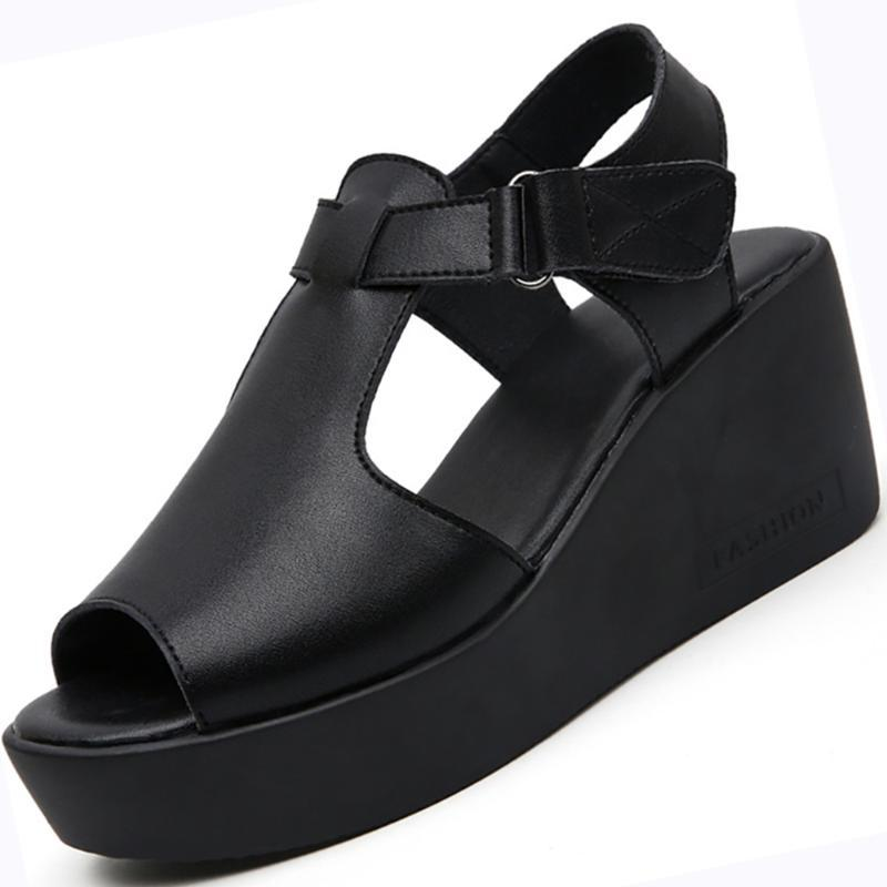 ملابس أحذية نسائية منصة جلد طبيعي مضخات عارضة أسافين الصنادل للإناث عالية الكعب مصمم السيدات الأحذية الفتيات 2021 الفاخرة