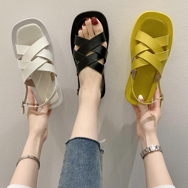 Sandals All-Match Comfort Shoes For Women Muffins Shoe Luxury Suit Female Beige 2021 Summer Clear Heels Med Flat Fashion Black G