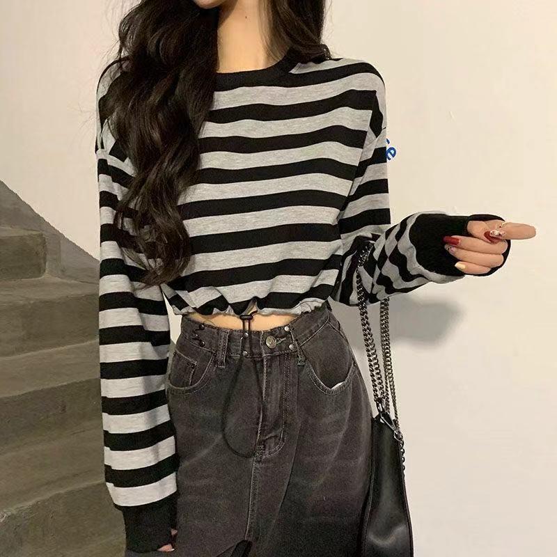 Женская полосатая длинная рукава весна 2021 тонкий высокая талия обрезанная футболка, повседневная мода короткая топ