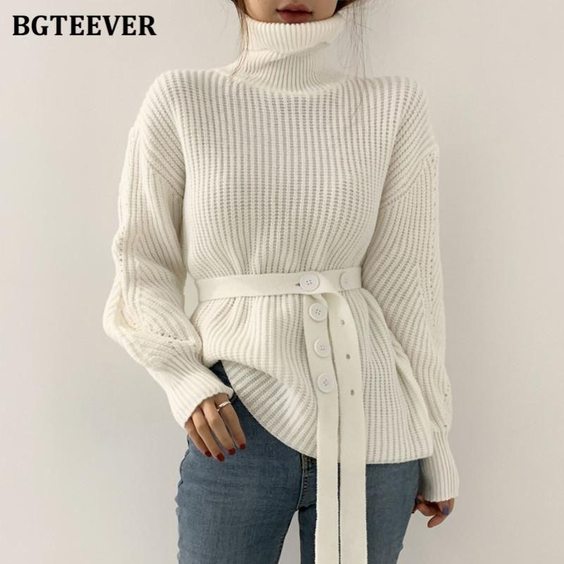 Bgteever шикарный толстый теплый водолазник сплошные свитера пуловеры зима с длинным рукавом на шнуровке женские вязание топы перемычки 2020