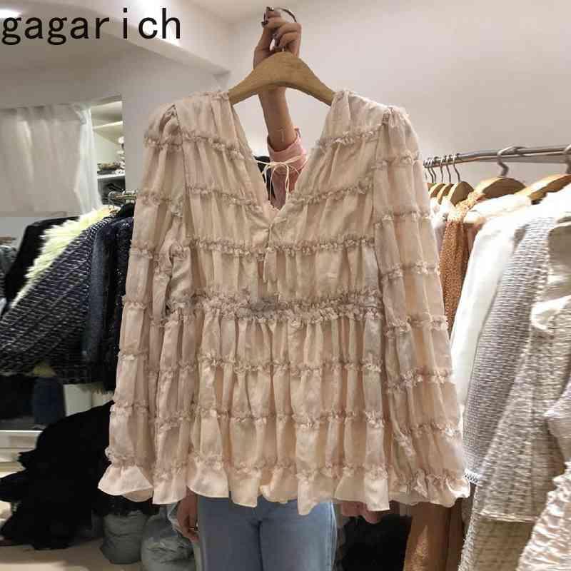Camisas de mujer primavera otoño japonés dulce temperamento niñas suelto plisado volante de color sólido blusas de cuello en v 210506