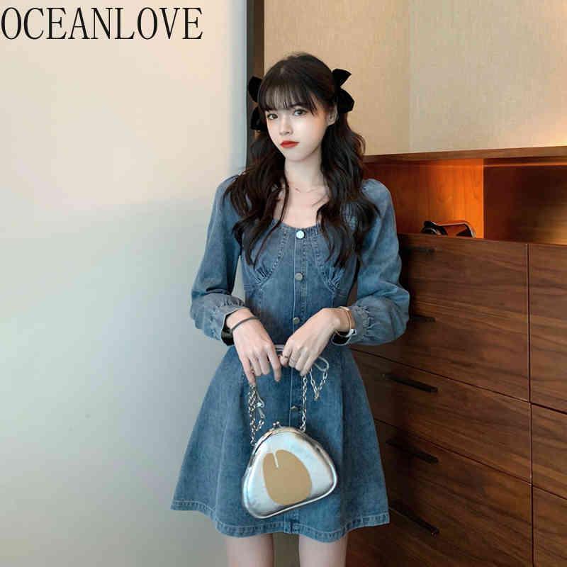 Oceanlove Denim Femme Robe Femme Solide Crêle Écolé De L'automne coréen Mini-robes haute taille Vestidos de Mujer Vintage 19126 210513