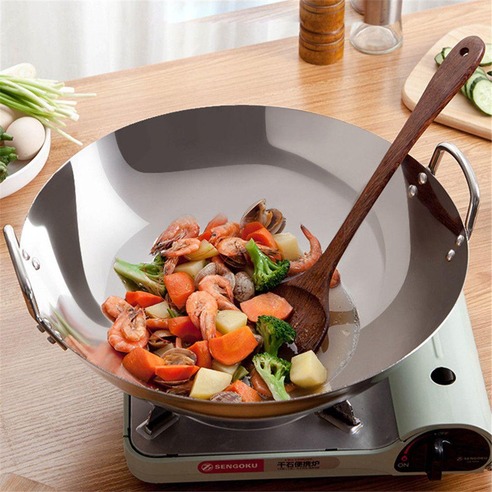 38cm 40cm épaississant wok casseroles maison jardin poêle antiadhésif en acier inoxydable poêles à gaz en acier inoxydable poêle à frire PANGAKE POUP POT 210319