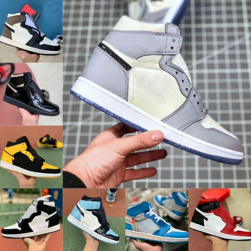 Yüksek 1 1 S Basketbol Ayakkabıları Erkekler Kadınlar Dark Mocha OG Bio Hack Satış için Değil Mavi UNC Patent Kırmızı Beyaz Siyah Kraliyet Yeşil Toe Tasarımcılar