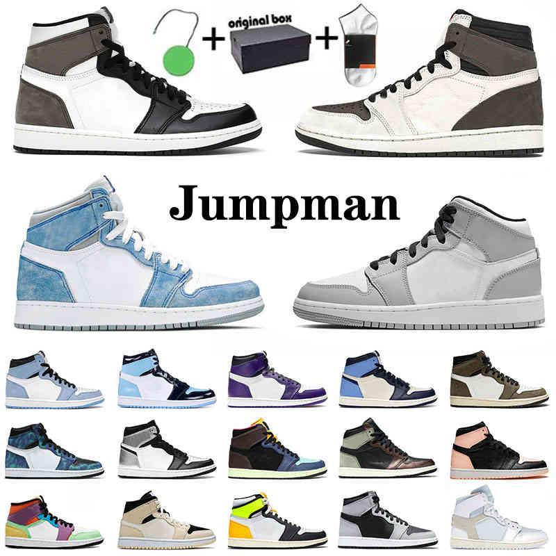 Kutu ile Orijinal Jumpman Mens Bayan Basketbol Ayakkabıları Hiper Kraliyet Üniversitesi Mavi 1 Yüksek Karanlık Mocha 1 S Mid Sneakers Bio Hack Obsidiyen
