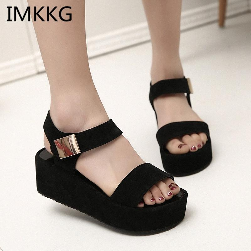 Sandales Femmes Summer Shoes Sands Femme Sandales Sandales Fashion Poisson Bouche Rome Blanc Black Femmes Chaussures A00056 G7ED #