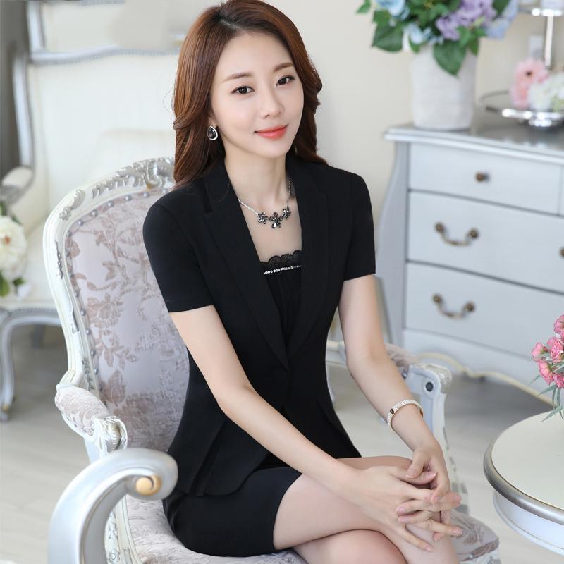 2021 Été mince professionnel petit costume veste femme femme à manches courtes costume mince jupe hôtel officiel office Uniforms jupe ensemble