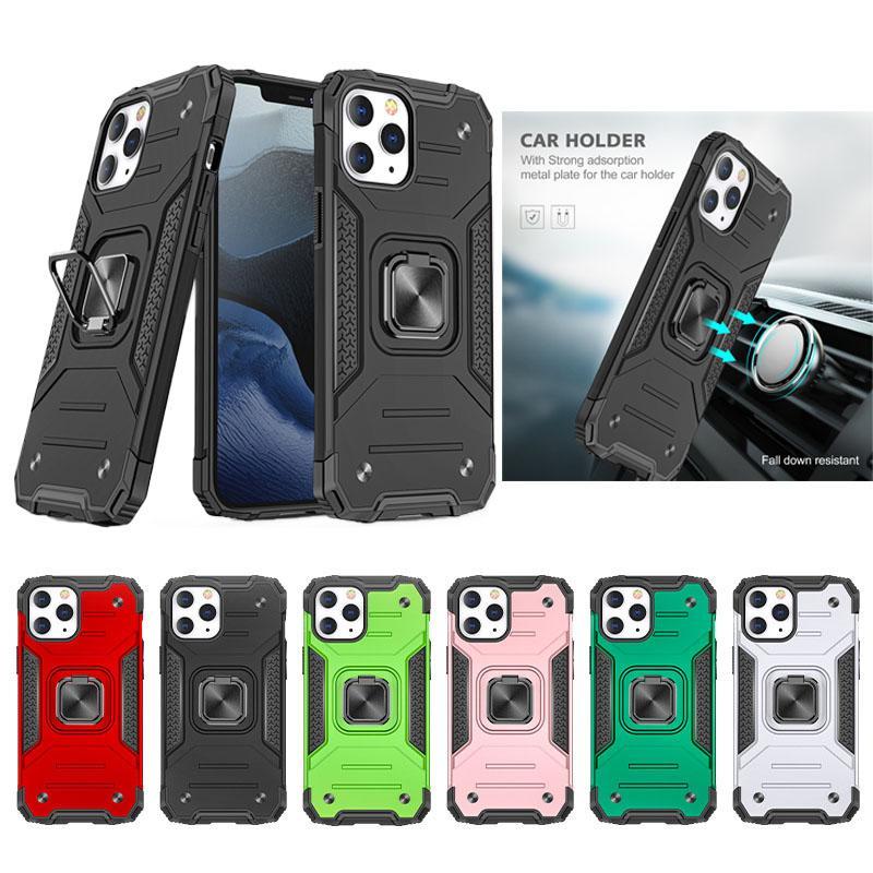 Parmak Yüzük Standı Telefon Kılıfları iphone 12 11 Pro Max XS XR 7 8Plus Samsung S20 Ultra Note20 Darbeye Hibrit Zırh Kapak