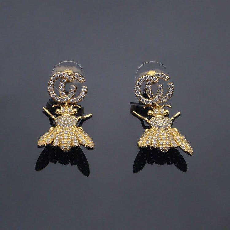 Designer di gioielli di lusso Donne orecchino orecchino alfabetico appeso ape piena diamante orecchino signore moda ape orecchino