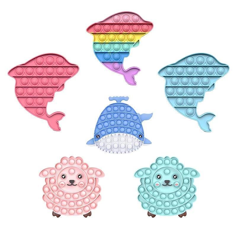 NUOVO!!! Rainbow Push Fidget Toy Sensory Push Bubble Fidget Autism Needs Bisans Ansia Stress Stress per Office Fluorescen Spedizione veloce