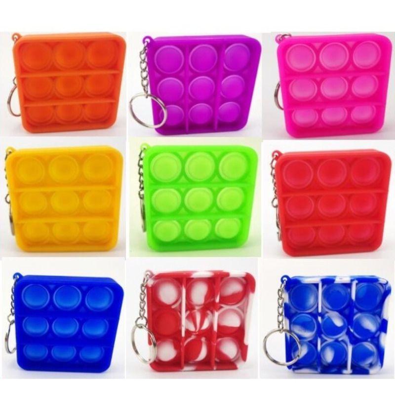 6 estilos de dedo empuje burbuja niños adultos novela fidget llaveros llaveros juguetes simples titular de llaves anillos bolsa colgantes descompresión juguete H32531i