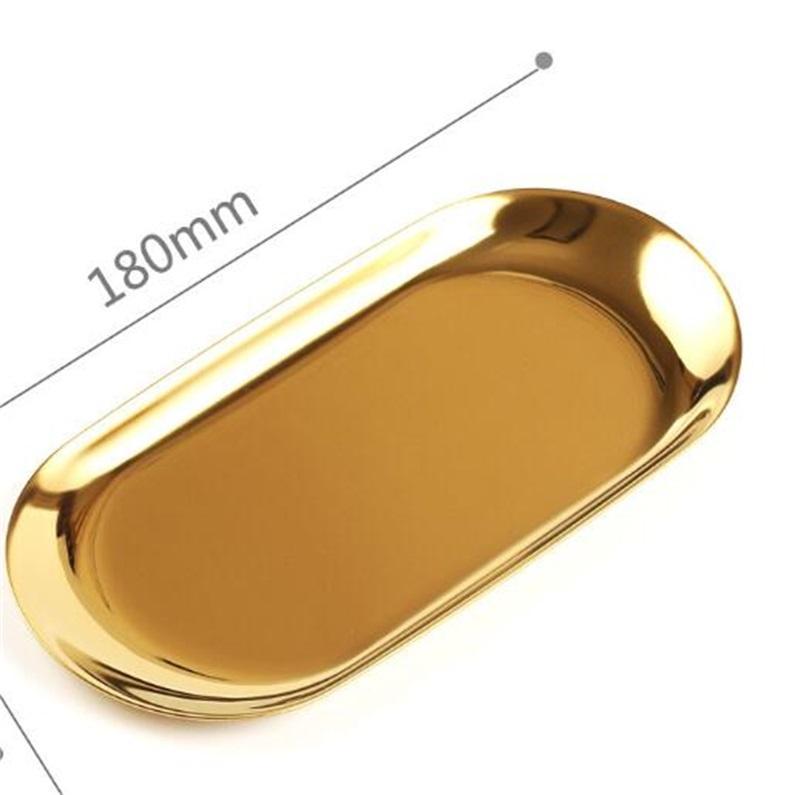 세련된 금속 트레이 디저트 트레이 플레이트 저장 컬러 스테인레스 스틸 타원형 트레이 인기있는 제품 장식 225 V2